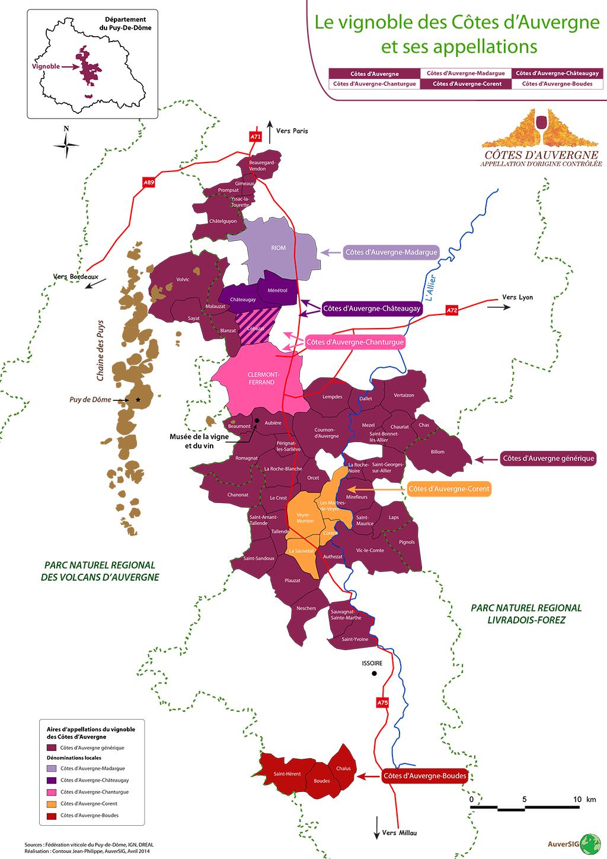 Carte géographique du vignoble Côtes d'Auvergne
